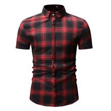 New Autumn Fashion Brand Men Clothes Slim Fit Short Sleeve Shirt Plaid Cotton Casual Social Plus Size M-3XL
