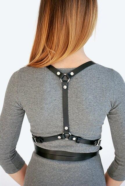 Women body harness handmade genuine leather belt  chest