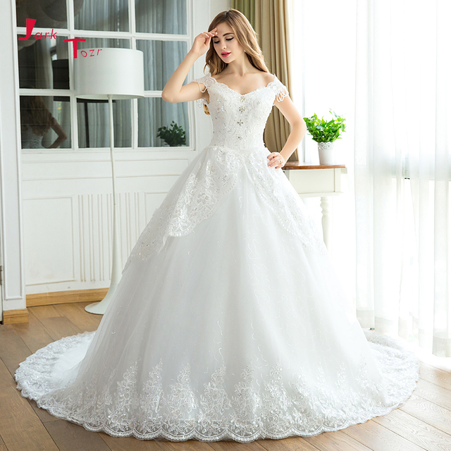10fd2ed71 Jark Tozr Custom Made V-neck Lace Up Tassel Cap Sleeve Appliques Beading  Crystal Princess Ball Gown Wedding Dress 2019 Mariage