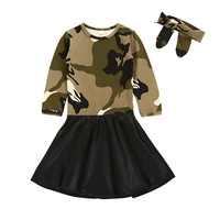 Baby Girls Dresses Long Sleeve Autumn Children Camouflage Dress Kids Clothes Princess Dress With Headband