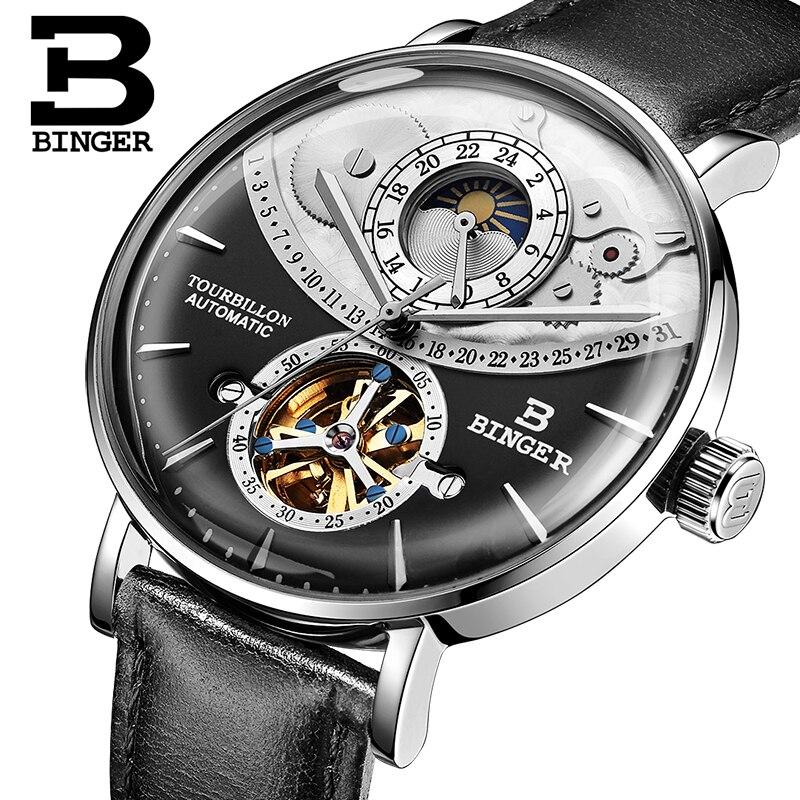 Швейцария смотреть Для мужчин Бингер автоматические механические Для мужчин часы Элитный бренд Сапфир Relogio Masculino Водонепроницаемый Для муж...