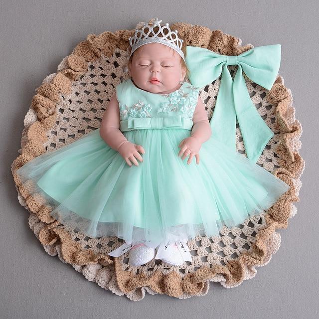 da560e1ae6b3 Green Bow 1 Year Old Birthday Baby Girl Dress Party Wear Vestido ...