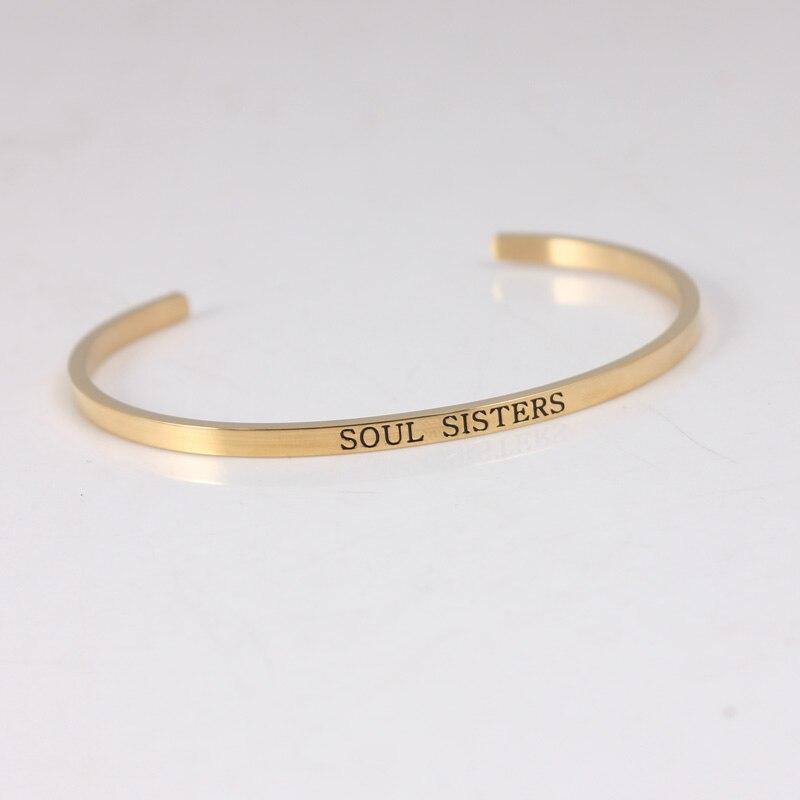 Bracelet de barre d'acier inoxydable de la couleur 316L d'or bracelets pour femme de Mantra de manchette d'inspiration Positive - 3