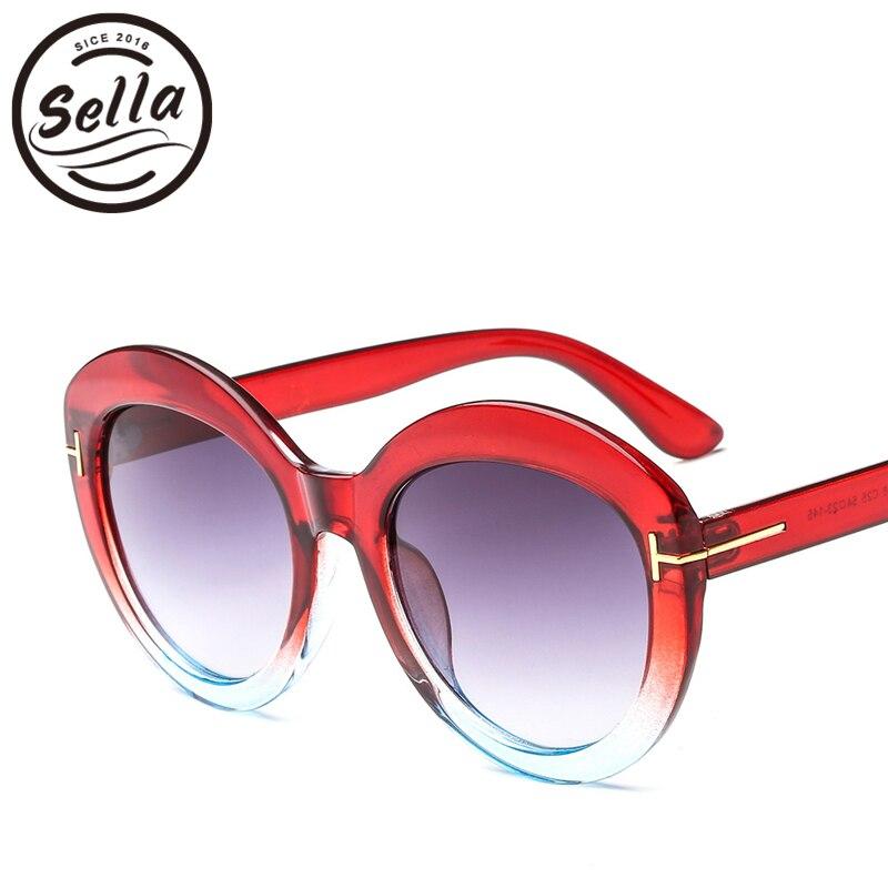d60de8e41b Sella nueva moda mujer gafas de sol redondas de gran tamaño transparente de Color  jalea marco gradiente lente de verano gafas de sol