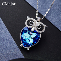 CMajor Fashion Hand Made Blue Crystal Silver Color Chain Necklace For Women Delicate Owl Pendant Necklace With AAA White Zircon