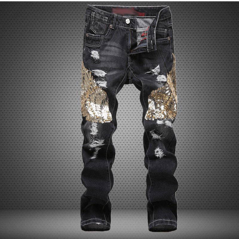 Runway Fashion 2017 Mens Sequins Jeans Men's Designer Trousers Holes Biker Distressed Jean Casual Skinny Hip Hop Ripped ripped distressed jean hombre slim fit denim overalls fashion mens biker casual hip hop long trousers calca jeans masculina