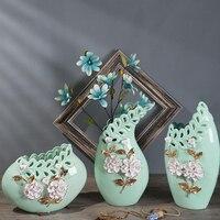 Modern Ceramic Flower Vase Crafts Decoration Livingroom Home Figurines Ornaments Hotel Office Desktop Furnishing Accessories Art
