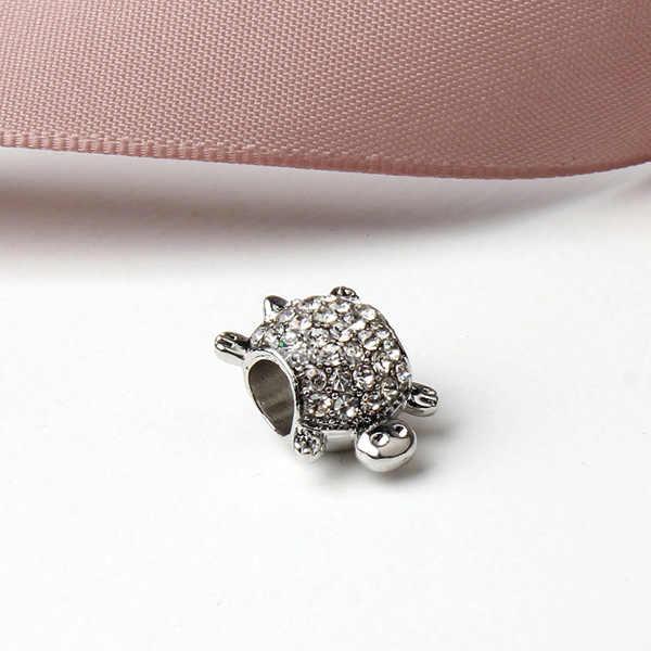 Dương Phong Cách Bạc Động Vật Màu Pha Lê Rùa Quyến Rũ Phù Hợp Với Pandora Vòng Tay Necklaces cho Phụ Nữ Bộ Lạc Jewelry DIY Collier