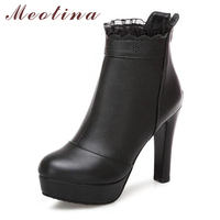 Meotina Winter Ankle Boots for Women High Heels Boots Fashion Lace Platform Short Boots Zip Shoes Women White Black Big Size 43