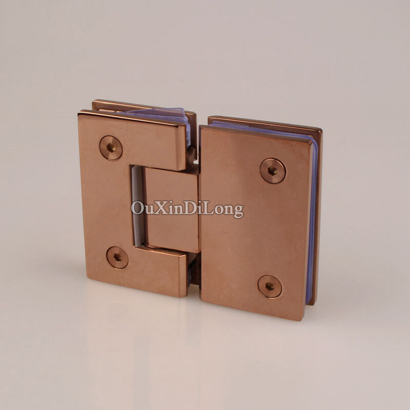 HOT 2PCS 304 Stainless Steel Frameless Shower Glass Door Hinges 180 Degree Glass Clamps Holder Brackets Rose Gold/Titanium Black black titanium 180 degree hinge open 304 stainless steel glass shower door hinges for home bathroom furniture hardware hm156