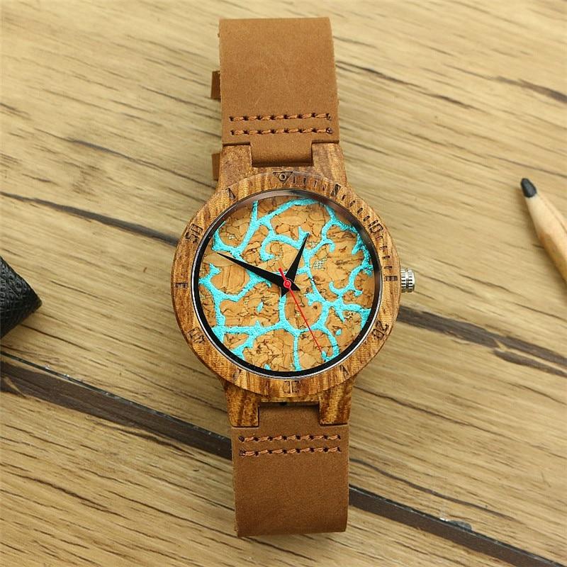 2017 Fashion Wooden Watches Stream River Face Quartz Wristwatch Men Women Couple Clock Earth Plate Design Reloj Hombre Hot Gift