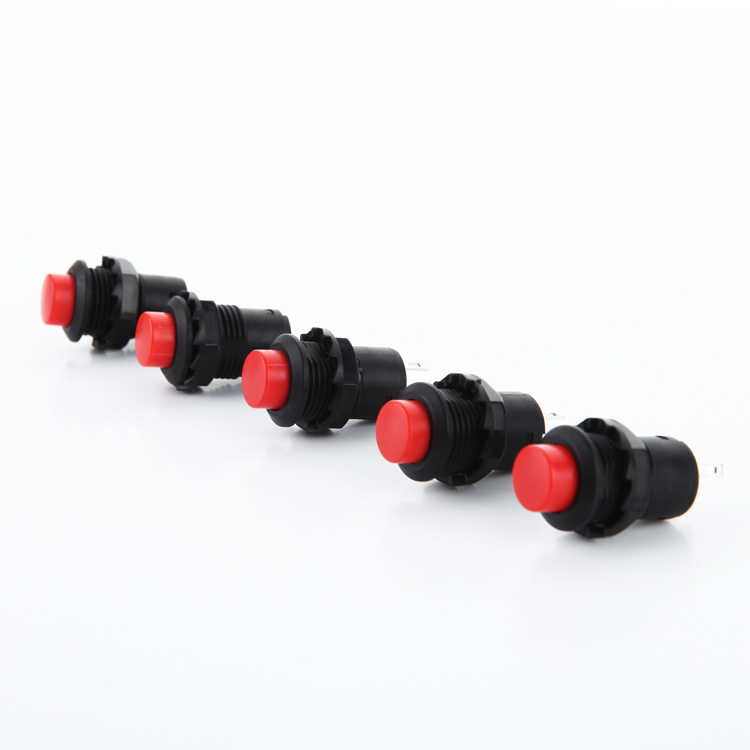 Mini Rosso e Verde 12 millimetri Auto di Ritorno Momentaneo o di auto-bloccaggio Touch On/Off 2 perni interruttore di Pulsante