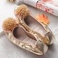 Бисероплетение Цветок Элегантный Натуральная Кожа Плоские Туфли девушки Лодка Обувь Удобная Мода Прохладный Леди Квартиры Осень Женская Обувь C073
