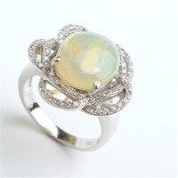 Darmowa Wysyłka Romantyczny Moda Rings Dla Kobiet Unikalny Kwiat Kształt Natural Opal Kamień 925 Srebro Obrączki