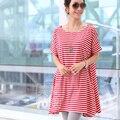 одежда для беременных Свободно хлопок беременным футболки большой размер одежды для беременных материнство платье лето цельный платье в полоску футболка 2016 новый для беременных платья для беременных Увеличить размер