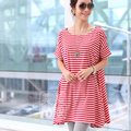 Loose Cotton Maternity T-shirt Large Size Maternity Clothing maternity top dress summer one-piece dress stripe t-shirt 2016 New