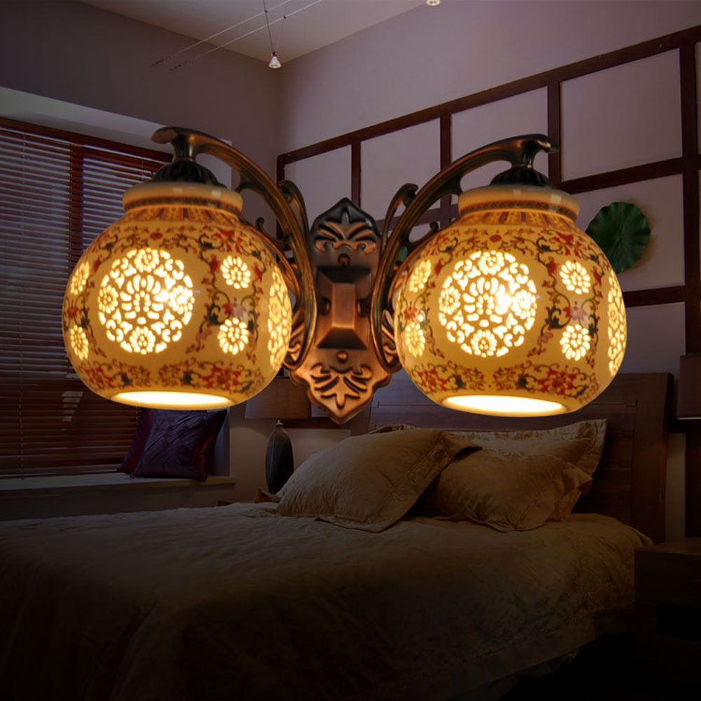 2018 Able New Led Wall Lamp Blue and White Porcelain Double Head Vintage Wall Lamp E27 Ceramic Antique Read Wall Light 110-220v 2w 120lm red blue led wall lamp 110 220v