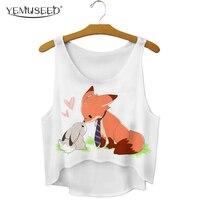 YEMUSEED New Fashion Cartoon Fox Love Rabbit Crop Tops Cute Kwaii Tumblr Tops Mujer Plus Size