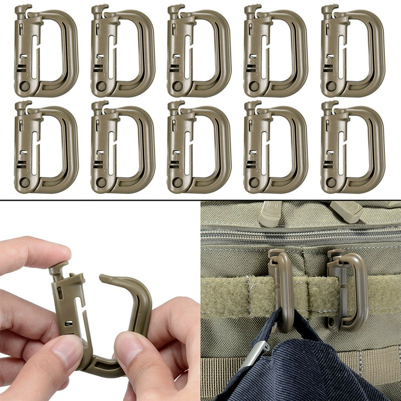 13pcs/set Outdoor Bag Backpack Hike Hunt Gear Climbing Accessory Tactical Airsoft Molle Carabiner Bushcraft D-ring Clips Strap Less Expensive