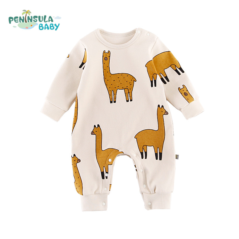 Baby Clothing Newborn Infant Boy Girl Cartoon Alpaca Long Sleeve One Pieces Cotton Jumpsuit Clothes Outfit Children Rompers baby boy rompers cotton newborn baby clothes bateman superman kid girl clothes long sleeve baby boy clothing set infant jumpsuit