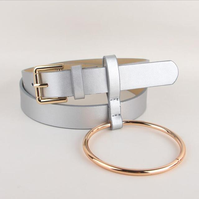 HOT Newest Design Women waist belt Lovely women's big ring decorated belts female fashion gold pin buckle solid PU leather strap 2