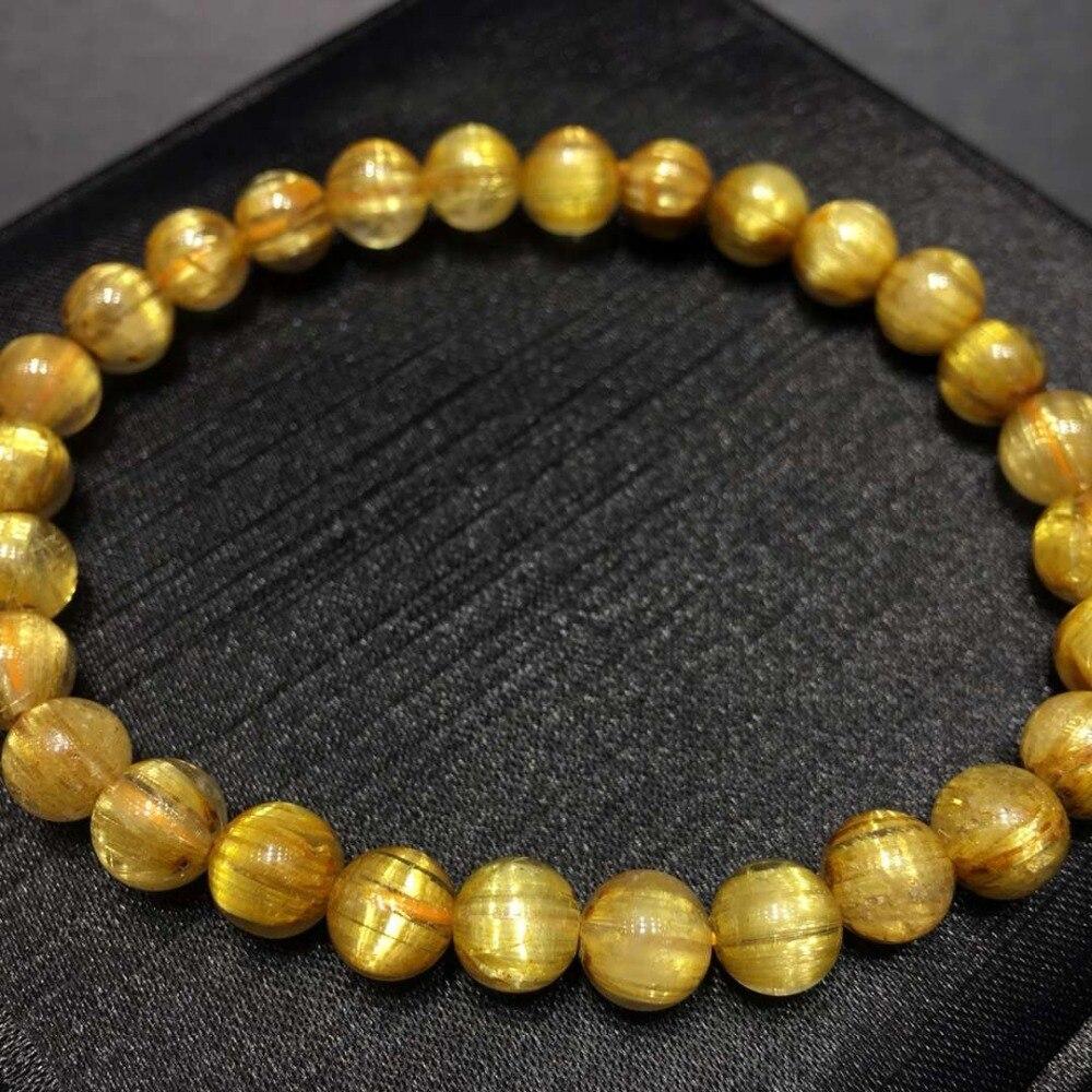 Certificate Natural Gold Rutilated Quartz Round Beads Stretch Bracelet 7mm Wealthy Women Man Jewelry Brazil Healing