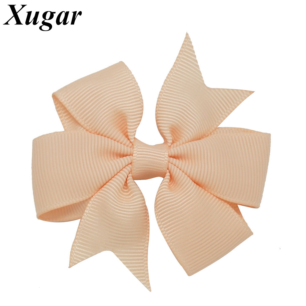 6 Pcs/Lot 3''  High Quality Pinwheel Solid Hair Bow For Girls Sweet Hairgrips Grosgrain Ribbon Hair Accessories 2 pcs lot 4 high quality pearl hair bow for girls sweet cute hair clips rhinestone ribbon diy fashion headwear