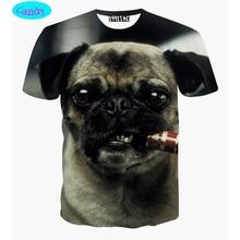 11-19 años adolescentes niños camiseta de perrito fumar 3D impreso niños de la camiseta para las niñas de europa y américa del estilo unisex tops DT21
