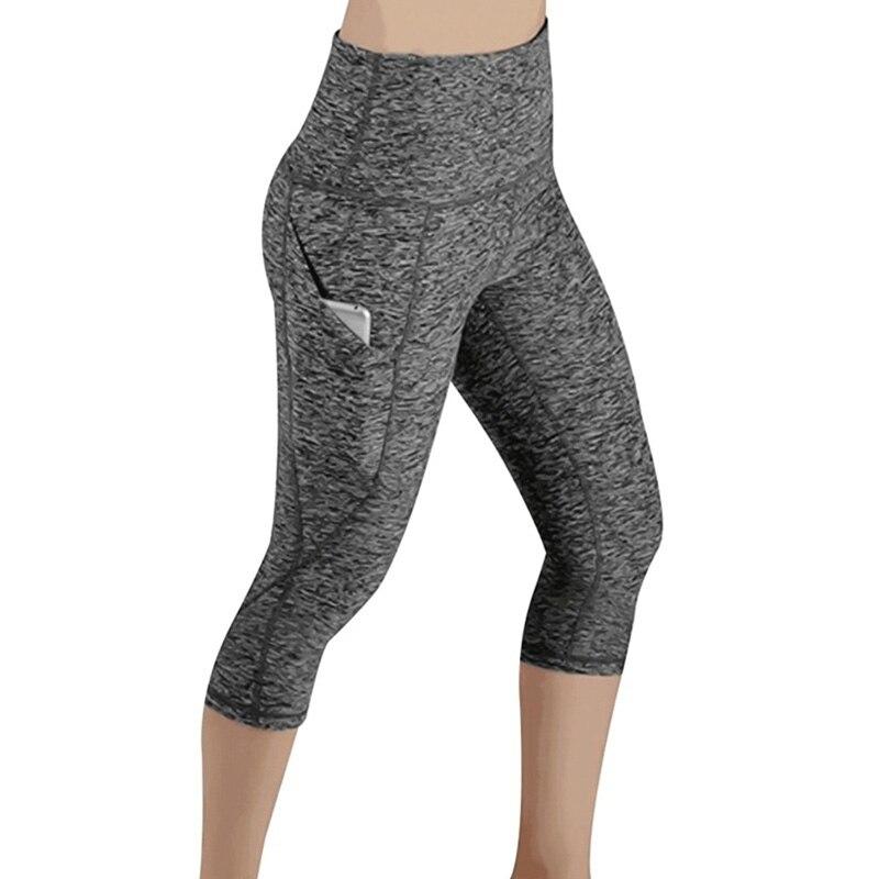 Side Pockets Design Slim Leggings Female 3/4 Sporting Leggings Female Casual Push Up Sporting Fitness High Waist Leggings