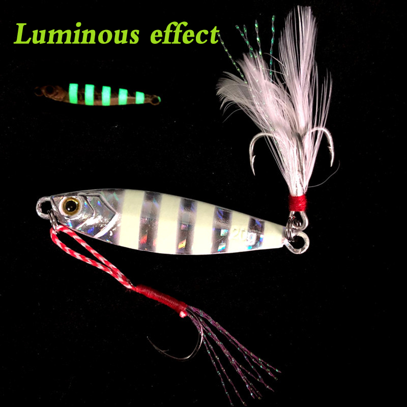 Stripe Luminous <font><b>Metal</b></font> Hard <font><b>Jig</b></font> Lure 20g 30g <font><b>40g</b></font> 60g Goods For Fishing <font><b>Jigs</b></font> <font><b>Metal</b></font> Lead Squid Wobbler Winter Sea Ice Spinner bait image