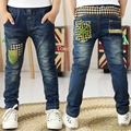 2016 Spring Autumn fashion children kids jeans with patch work pocket boys trousers  B088