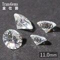 TransGems 11mm 5 Quilates Certificado F Incolor Solto Moissanite Lab Grown Diamante Talão Teste Como Real Diamante Pedra Preciosa