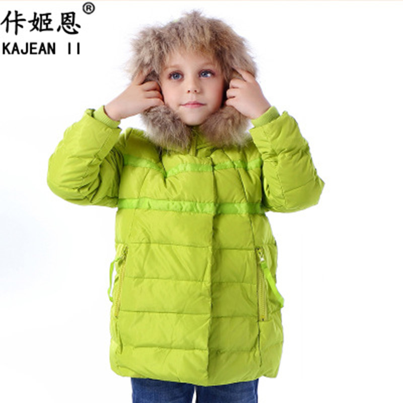 2017 Winter Girls Down Jackets With Fur Hooded 80% White Duck Down Coats Kids Children Girl Coat Down Parka Outwear Wholesale