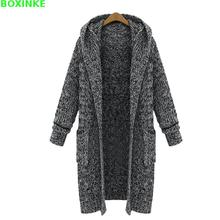 Real Women Sweaters And Poncho Hooded Sweater Pull New Winter Cardigan Code Sister Long Fat Thick Knitted Loose Thickening