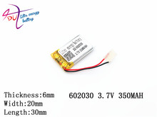 polymer lithium battery 602030, 062030 350mah point read recorder pen wholesale CE FCC ROHS MSDS attestation