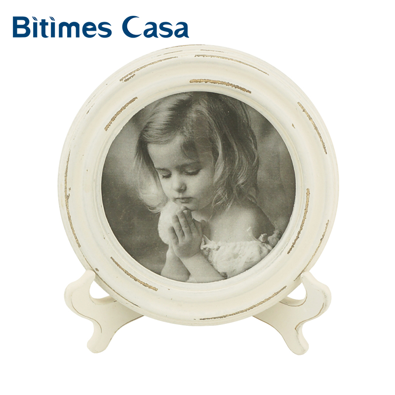 Bitimes Table Picture Photo Frame Classic Vintage Retro Wood MDF With Holder Round Shape Anniversary Gift Home Decoration in Frame from Home Garden