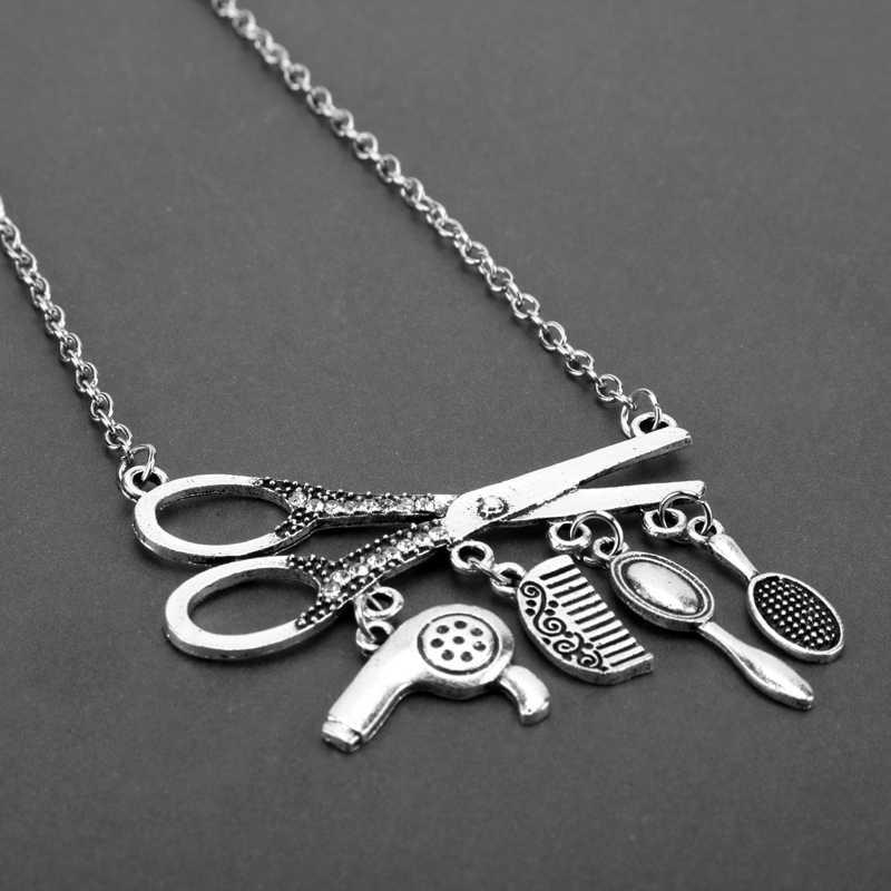 Creative Jewelry Necklace Tools Hair Dryer/Scissor/Comb/Mirror Pendants Necklace Barber Shop Hair Dresser Present Necklace