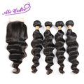 Ali grace 8a cabelo peruano virgem cabelo solto onda com rendas fechamento 4 Pacotes de Cabelo Com 4*4 Fechamento Onda Solta Com Rendas fechamento