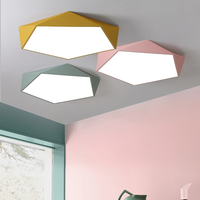 Creative geometry modern led ceiling lights for living room bedroom dining room Aisle balcony iron Macaron indoor ceiling lamp modern led ceiling lamp aisle simple living room porch balcony study room long lamp