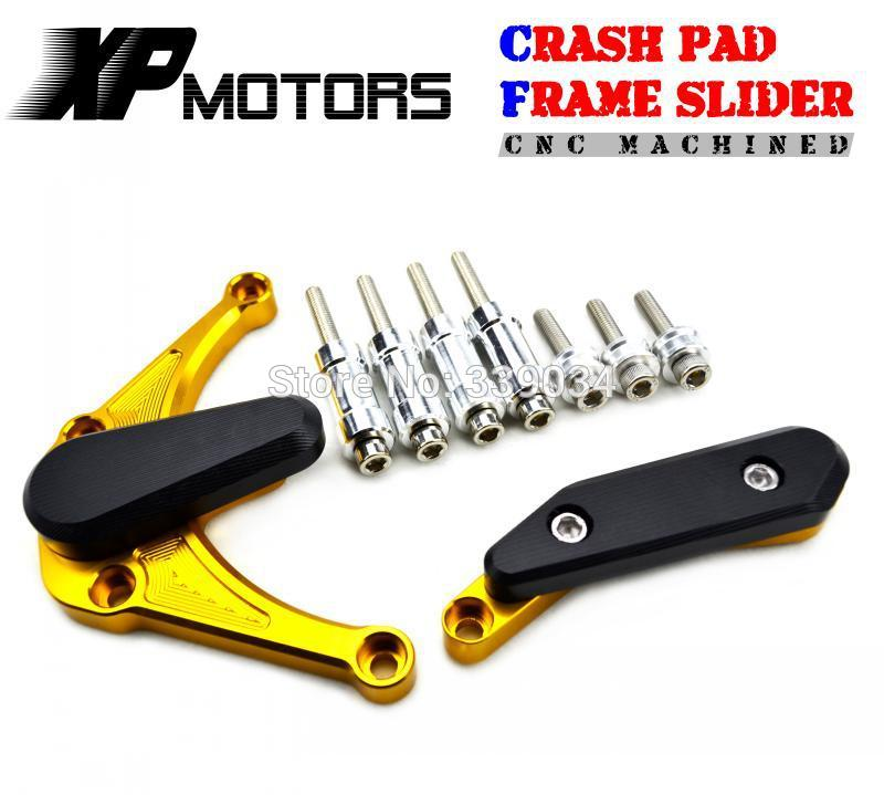 Gold CNC Engine Case Slider Crash Pads Protector For Yamaha 2009 2010 2011 2012 2013 2014