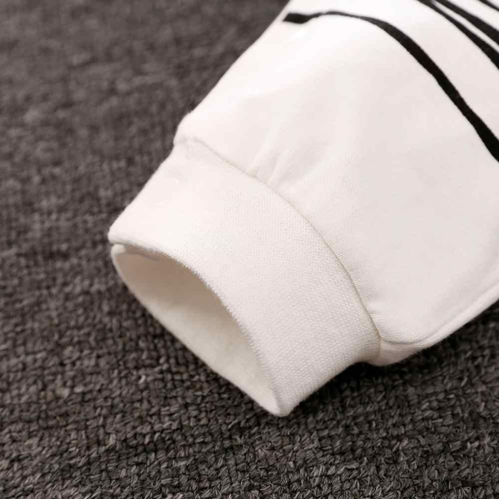PatPat שובב זברה ארוך שרוול כותנה 2pcs תינוק בנות בגדי סרבל בלבן עם כובע לתינוק יילוד תלבושות סט