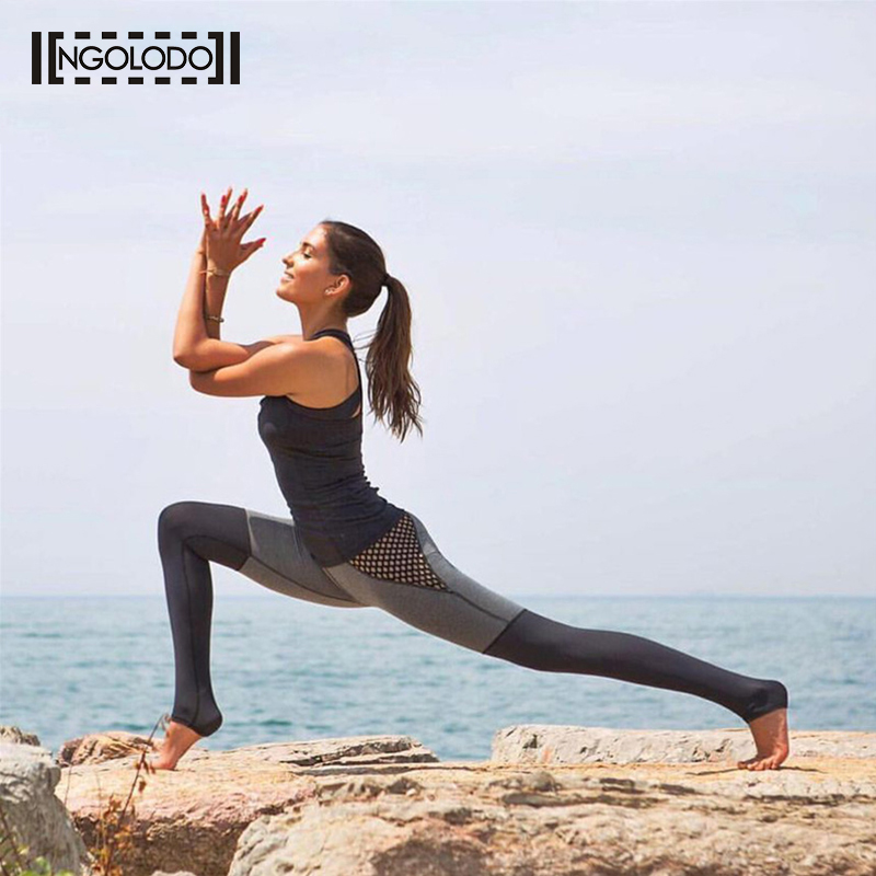NGOLODO Women sportings Casual Leggings Fitness Black Sexy push up jegging for female Pants Elastic Color Mesh clothing workout
