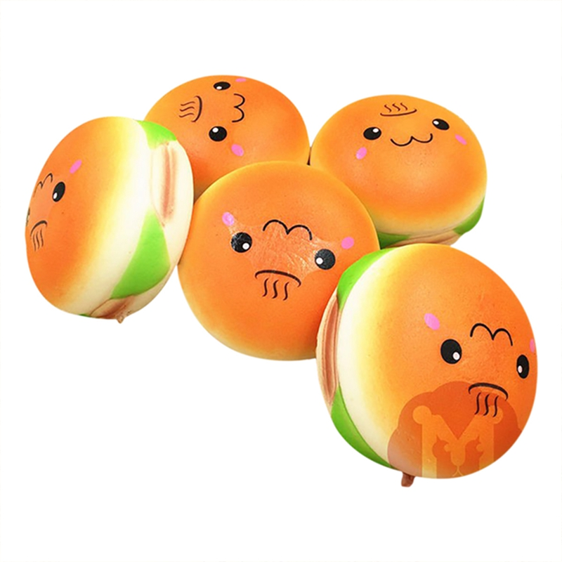 Giant Squishy Toys : LEORY Cute 10cm Squishy smile Hamburger Toy Emoji Toy Random Squishy Pendants Baby Toys Phone ...