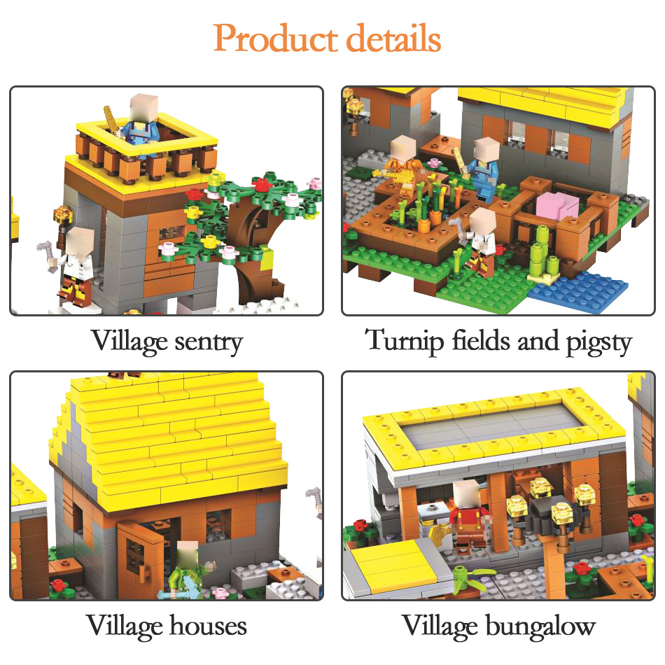Toys & Hobbies Original 1170pcs My World Series Dream Village Building Blocks Compatible Legoingly Minecrafted Guard Mini Sets Figures Educational Toys