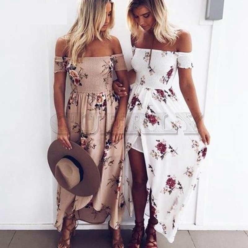 CUERLY Women Neck Floral Printed Boho Dress Fashion Beach Summer Dresses Ladies Strapless Long Maxi S-5XL