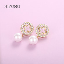 HIYONG Fashion Elegant Round Gold Earrings Rhinestones Hoop Pearl Earrings Set for Women Jewelry Gifts Alloy 2019 Hot Wholesale(China)