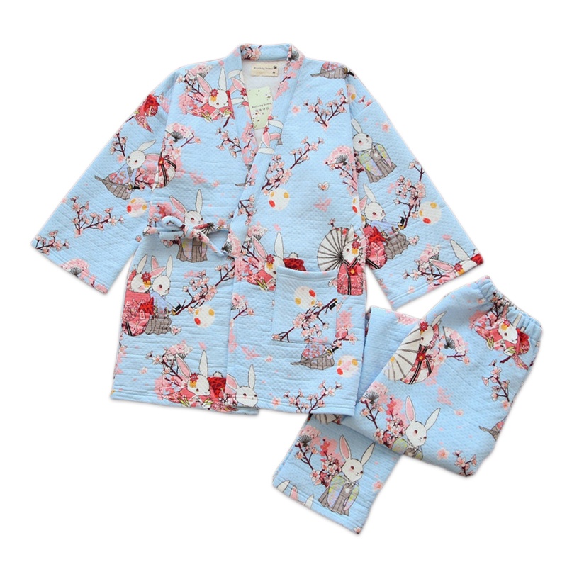 Cute rabbit women kimono   pajamas     sets   Winter thicken 100% Cotton warm Japanese Sakura long sleeves robes women pyjamas homewear