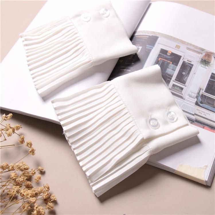 Fake Sleeves Autumn Winter Wild Sweater Decorative Sleeves Cotton Pleated Wrist Pleated Organ Fake Sleeves Universal Fake Cuff