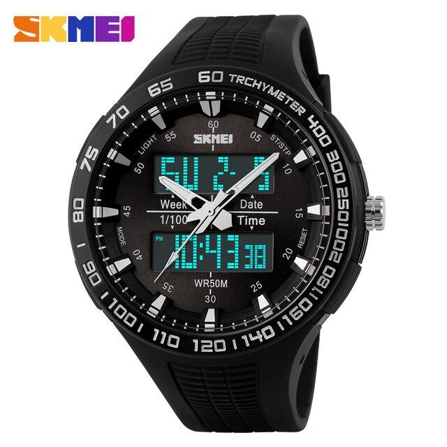 SKMEI Чоловіки Кварцевий Годинник Цифровий Світлодіодний Дисплей Спортивні Годинник Relojes Relogio Masculino Montre Homme Військова Водонепроникний Наручний Годинник