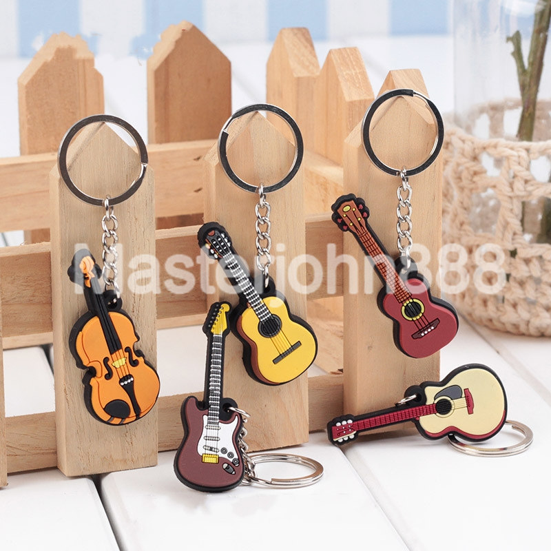 1pc Rubber Acoustic/Classical/Electric Guitar Ukulele Violin Keychains Key Ring  Wholesale